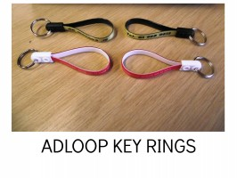 LOOPED KEY RINGS. ADVERTISING LOOPS, KEY RIBBONS