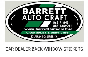REAR WINDOW STICKERS, GARAGE STICKERS