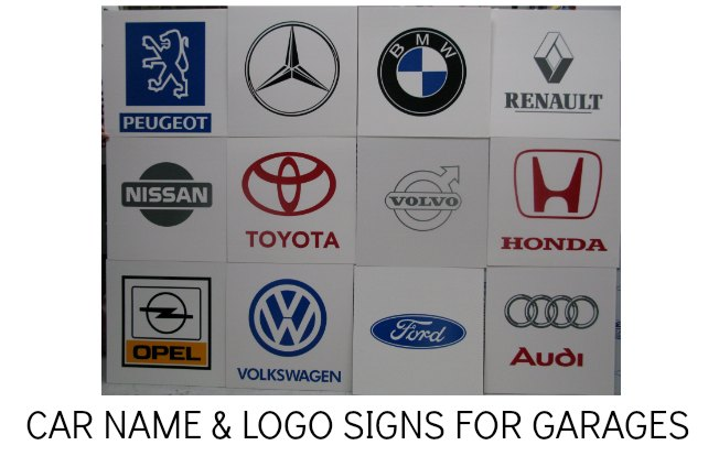 CAR BADGE SIGNS, GARAGE SIGNS, CAR NAME SIGNS FOR SHOWROOM