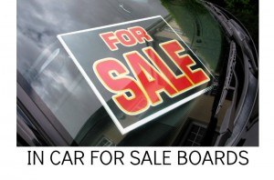 IN CAR FOR SALE BOARDS