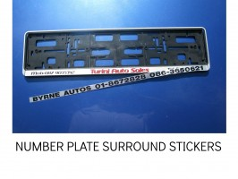 REG PLATE STICKERS, REG SURROUND STICKERS