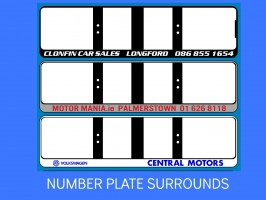 REG SURROUNDS, NUMBER PLATE BACKINGS, LICENCE PLATE SURROUNDS