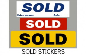 GARAGE SOLD STICKERS, LABELS, CAR SALES SHOWROOM STICKERS