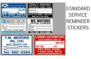 BUDGET SERVICE STICKERS, SINGLE SIDED SERVICE REMINDER LABELS