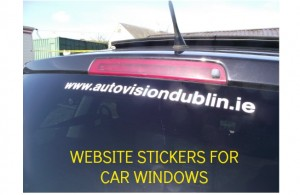 CAR WINDOW WEBSITE STICKERS, WINDOW LETTER STRIPS, WINDOW GRAPHICS