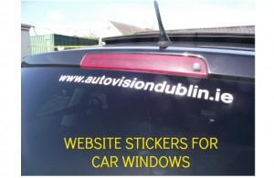CAR WINDOW WEBSITE STICKERS, WINDOW LETTER STRIPS, WINDOW GRAPHICS