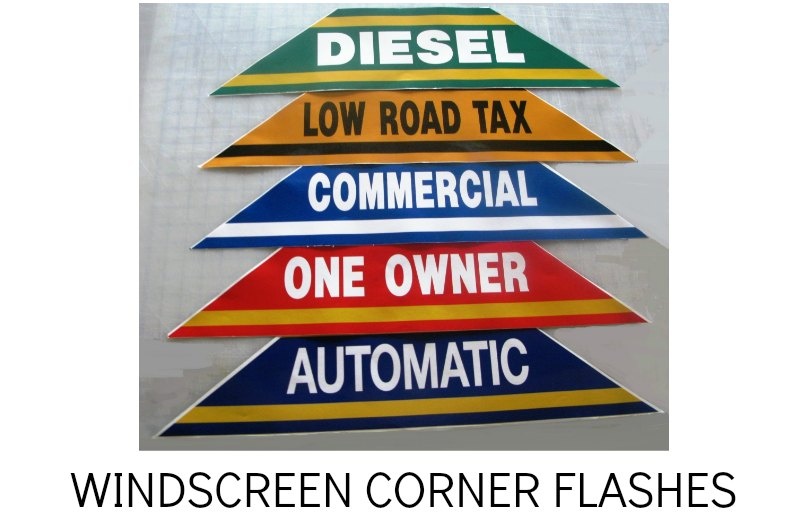 WINDSCREEN SASHES, CAR WINDOW CORNER STICKERS
